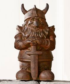 I need this! Sword Viking Cement Garden Gnome Statue by Giftcraft
