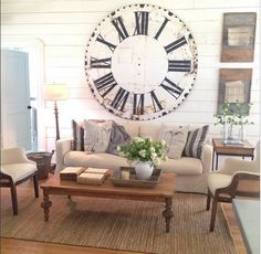 7 ft vintage French metal clock found at Round Top. Extreme envy and jealousy ;) (Chip & Joanna Gaines living room--HGTV Fixer Upper)