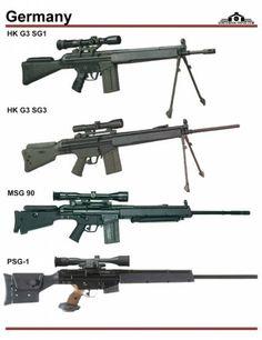 Германия: HK G3 SG1, HK G3 SG3, HK MSG 90, HK PSG1