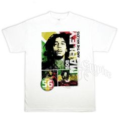 This white core Bob Marley tee showcases Bob Marley And The Wailers. Featuring Jamaica 56 Hope Road. The tee is colored with the rasta colors with three poses of Bob Marley pictured. Bob Marley is printed in white along with And The Wailers Printed in Black. The rasta circle has Jamaica 56 Hope Road printed in white.Core = The classic look T-Shirt. Made of soft, durable 100% pre-shrunk cotton.