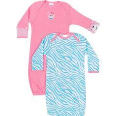 Gerber Newborn Baby Girl Lap Shoulder Gowns, 2-Pack - Walmart.com