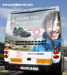 Rotulación Intersport. Contacta con nosotros en el 922 646 824 o vía email a mailto:comercial@... #publiservic #rotulacion #autobus Mountains, Cover, Sports, Books, Advertising, Hs Sports, Libros, Book, Sport
