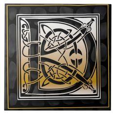 Celtic Black Stone D Monogram Initial Tile Tiles