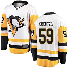 ddd541d83 Fanatics Branded Pittsburgh Penguins  59 Youth Jake Guentzel Breakaway White  Away NHL Jersey Nhl Hockey