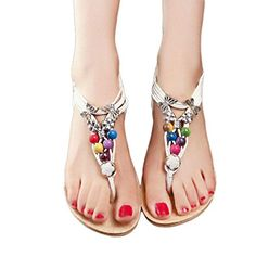 3f5d0fcbe5d3b Inkach Women Summer Bohemia Beaded Thong Sandals Clip Toe Flat Beach Shoes  85 White   Visit