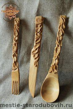 """Набор """"Яблонька"""" (деревянные ножик, вилка, ложка)"""