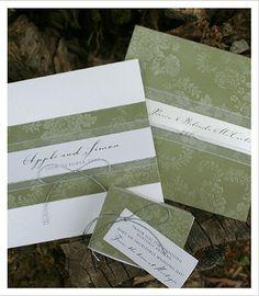 Green Wedding Invitations - Wedding Stationery & Place Cards - Lace Wedding Invites - Huetopia Design