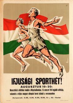 Youth Sport Track Running 1955 - original vintage sport competition poster by Denes Vincze listed on AntikBar.co.uk