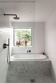 Bathroom good use of space shower and bath - July 21 2019 at Small Bathroom With Tub, Small Bathroom Layout, New Bathroom Designs, Bathroom Tub Shower, Bathroom Renos, Bathroom Interior Design, Bathroom Renovations, Bathroom Styling, Glass Bathroom