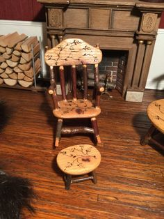 Terri A. Davis - rocking chair and stool with carved tree branch design; 1994