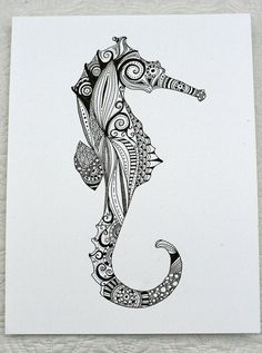 Hand Drawn Henna Style Seahorse by JustTheCrumbs on Etsy