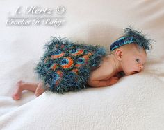 Crochet Peacock Cover and Headband Photo Prop (NB) - PATTERN ONLY