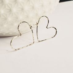 Heart Hoops - Hammered Heart Hoop Earrings - gift - Gold Heart Hoop Earrings - Silver Hoop Earrings - Rose Gold Hoop earrings - 1 inch hoops Rose Gold Earrings, Silver Hoop Earrings, Stud Earrings, Gold Filled Jewelry, Minimalist Earrings, Silver Hoops, Heart Of Gold, Or Rose, Solid Gold