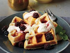 Lemon-Poppy Seed Belgian Waffles with Blackberry Maple Syrup | Learn how to make Lemon-Poppy Seed Belgian Waffles with Blackberry Maple Syrup. MyRecipes has 70,000+ tested recipes and videos to help you be a better cook.