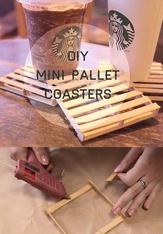 Fun Crafts To Do With A Hot Glue Gun | Best Hot Glue Gun Crafts, DIY Projects and Arts and Crafts Ideas Using Glue Gun Sticks | Popsicle Sticks and Hot Glue Gun Mini Pallet Coasters | http://diyjoy.com/hot-glue-gun-crafts-ideas