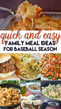Quick and easy family meals ideas for baseball season!