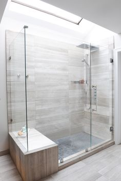 Aquabrass Aquasheet wallmount dual fuction rainhead and square hand shower and 3/4 thermostatic valve Aquakit featured in walk-In shower designed by @Enviable Designs #Aquabrass #Aquasheet #Shower