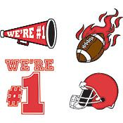 Red Football Cheerphone Set Temporary Tattoos