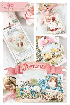 A Year of Vintage Postcards Project - April free postcard printables at Shabby Art Boutique Printable Postcards, Free Postcards, Vintage Postcards, Printable Designs, Free Printables, Atc Cards, Vintage Easter, Paper Dolls, Craft Projects