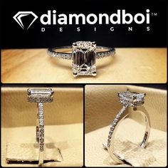 . The design was made with an excellent cut Emerald Cut diamond. The diamond was placed on my reverse halo. The thin shank was made with diamonds in an Italian pave setting. #diamond #diamonds #wedding #weddings #engagement #ring #rings #bride #brides #jewellery #jewelry #emerald #halo #diamondboi