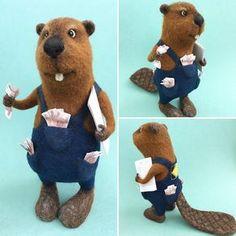 Cute Needle felted project wool animals beaver(Via @idafelt)