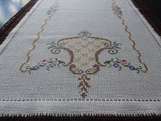 Vintage White Cotton Table Runner with Cross Stitched Embroidery, Swedish Vintage from 1960'