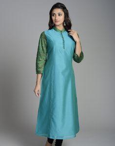 Silk Cotton Mirror Embroidery Long Kurta