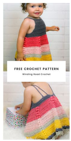 How to Crochet Toddler Dress Free Pattern - Winding Road Crochet Crochet Toddler Dress, Toddler Dress Patterns, Crochet Dress Girl, Crochet Summer Dresses, Kids Clothes Patterns, Crochet Skirts, Dress Sewing Patterns, Crochet For Kids, Crochet Baby