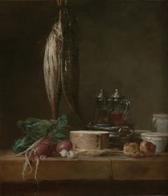 Still Life with Fish, Vegetables, Gougères, Pots, and Cruets on a Table - Google Arts & Culture
