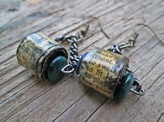 Upcycled recycled repurposed Paper bead earrings  by EarthChildArt
