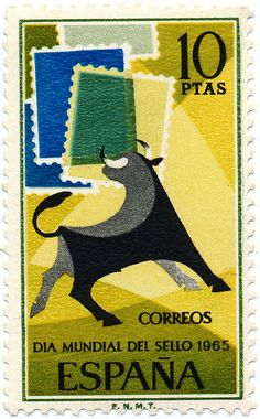 1965 Spanish 10ptas Postage Stamp featuring a Bull - Correos Dia Mundial Del Sello - Espana