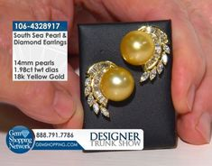 Cirari Couture Jewels South Sea Pearl 14mm & 1.98 ctw Diamond 18K Yellow Gold Earrings Item #106-4328917 Discover Gemstones and stunning jewelry from every era, vintage diamond rings, Art Deco blue sapphire earrings, estate emerald bracelets, ruby necklaces and more! Tune in to Gem Shopping Network to see more stunning Gemstones & Jewelry 24/7.