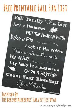 """Free printable 8x10 Fall Family Fun list! Plus a review of the new Berenstain Bears' book """"Harvest Festival"""""""