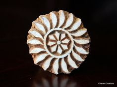 """Hand Carved Indian Wood Textile Stamp Block- Round Flower Motif. 1.85"""""""