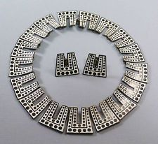 Vintage Margot de Taxco Sterling Silver Modern Dots Enamel Necklace Earring Set