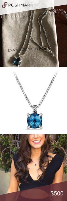 David Yurman Pendant Necklace, 11mm Gorgeous necklace worn once - incredible blue topez color David Yurman Jewelry Necklaces