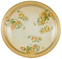 Brownies would look good on this plate. Art Nouveau Bavaria Porcelain Dessert Set with two Cake Tazzas and Six Plates