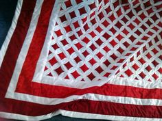 cathedral quilts | Red Cathedral Windows Quilt