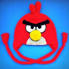 Touca de crochê Angry Birds Crochet hat Red Cardinal