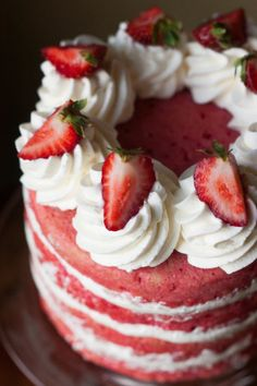 Made from Scratch Strawberries & Cream Cake | thekitchenmccabe.com