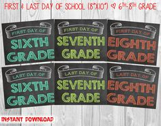 First Day & Last Day of School Chalkboard Photo Props // Set of 6 Boards // 6th Grade-8th Grade // (8x10) *Digital Files* INSTANT DOWNLOAD by MMasonDesigns, $15.00