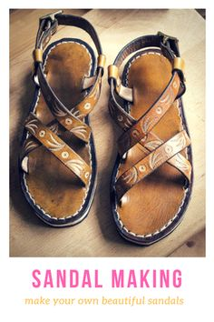 7c13b7616f8c Make your own tooled leather sandals! Click through to find out how. Diy  Leather