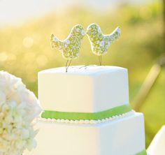 Wedding Cake Toppers Love Birds, Summer Green, White Flower, Outdoor Wedding, Wedding Gift