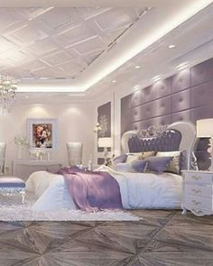bedroom ideas-a bunch of doors on the walls and a bed with a purple cover