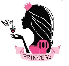0 point de croix portrait princesse - cross stitch shadow portrait princess
