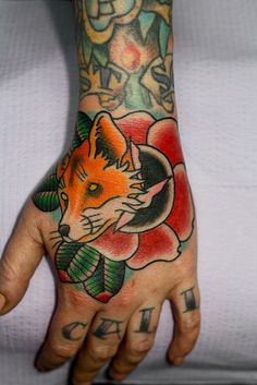 old school tattoo Fox rose, Myke Chambers. INK~ tattoos