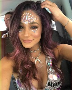 Tequila probably won't fix any problems, but it's worth a shot! Festival hair ideas / festival outfit / rave outfit ideas / festival makeup 2018. Gypsy shrine face jewels!