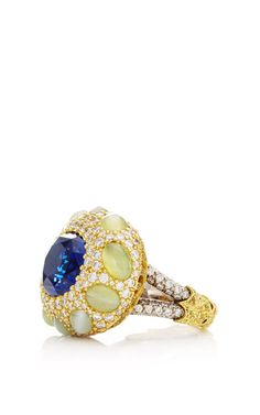 One Of A Kind Sapphire, Cats Eye Chrysoberyl, And Diamond Ring by Nicholas Varney for Preorder on Moda Operandi