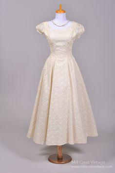 1940's Embroidered Lace Chiffon Tea Length Vintage Wedding Dress : Mill Crest Vintage