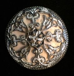 """Gorgeous!!!! Antique, 19th Century, Cow Bone Background Button with Ornate Metal Top. NBS medium measuring 1 1/16"""" in diameter. Excellent condition with no chips, cracks or repairs."""